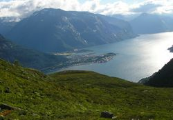 isfjorden viewed from the mountains