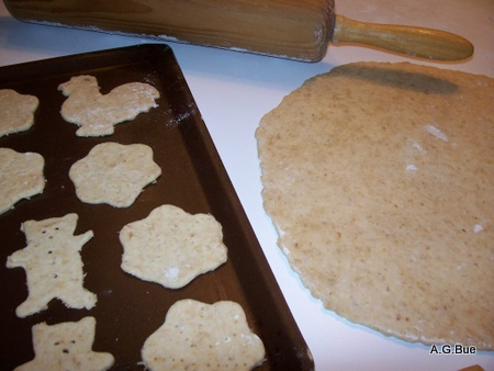 oatmeal crackers on baking sheet