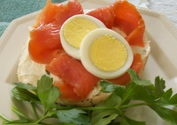 Open Face Smoked Salmon Sandwich (above)