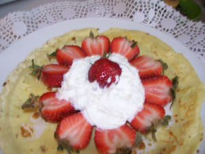 crepes pancakes with whip cream and strawberries-1