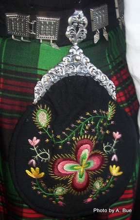 hand embroidered purse with pewter clasp pewter belt