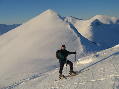 skiing up the mountain