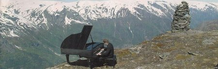 piano concert at the edge of a mountain